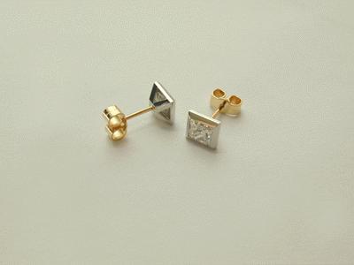 Princess cut diamond ear studs