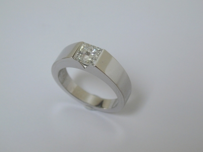 Bold contemporary princess cut diamond ring