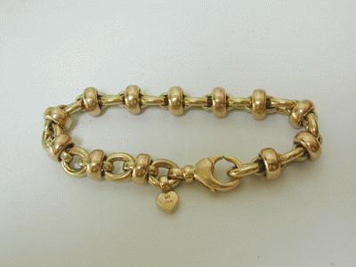 Yellow gold linked bracelet