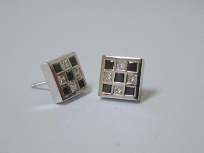 Black and white diamond ear studs
