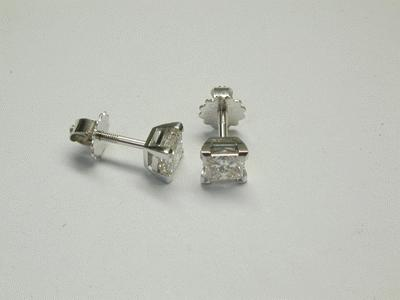 Screw fitting princess cut ear studs