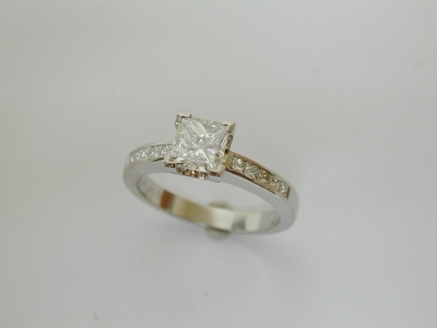 Princess diamond ring with princess shoulder diamonds